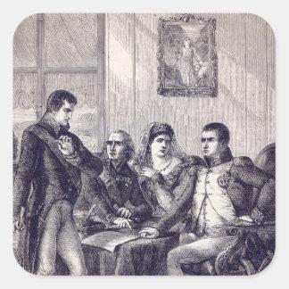 Fernando de España que dimite su corona Pegatina Cuadrada