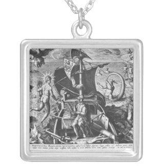 Fernando de Magallanes a bordo su caravel, 1522 Colgante Cuadrado