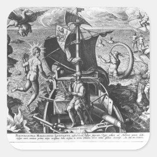 Fernando de Magallanes a bordo su caravel, 1522 Pegatina Cuadradas Personalizadas