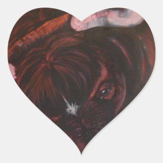 Fernando el toro pegatina en forma de corazón