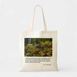 Ferns and Stones - ee Cummings quote Budget Tote Bag