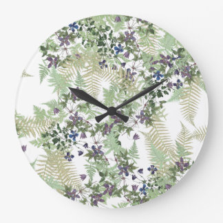 Ferns Clematis Vine Flowers Floral Wall Clock