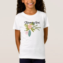 Ferns Roses Acorns Flower Girl Wedding Party T-Shirt