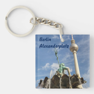 Fernsehturm and Neptunbrunnen in Berlin, Germany Single-Sided Square Acrylic Keychain