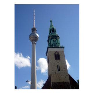 fernsehturm bell tower postcard