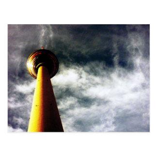 fernsehturm berlin clouds postcard