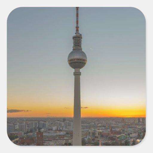 Fernsehturm torre de Berlín, Berlín TV, Alemania Calcomanía Cuadradase