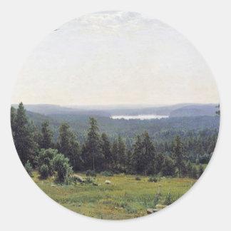 Fernsicht Kaman River By Schischkin Iwan Iwanowits Round Sticker