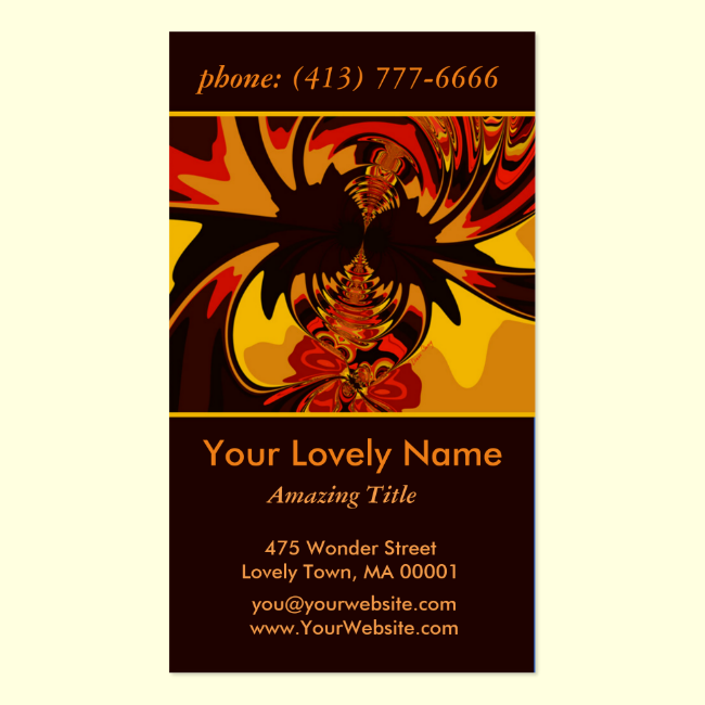Ferocious, Abstract Amber and Orange Creature Double-Sided Standard Business Cards (Pack Of 100)