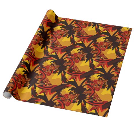 Ferocious, Abstract Amber and Orange Creature Wrapping Paper