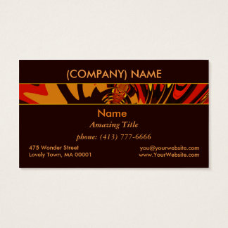 Ferocious, Abstract Amber Orange Black Creature Business Card