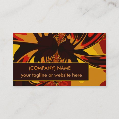 Ferocious, Abstract Amber Orange Fractal Creature Business Card
