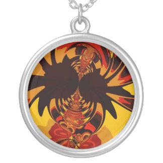 Ferocious – Amber & Orange Creature Round Pendant Necklace