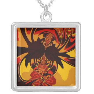 Ferocious – Amber & Orange Creature Square Pendant Necklace