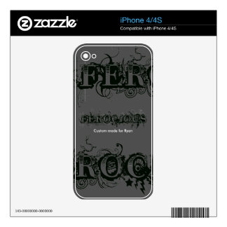 Ferocious Custom Made For Your Name Skin For iPhone 4S