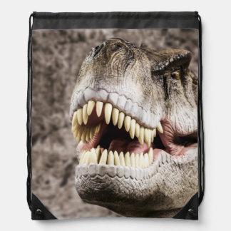 Ferocious T-Rex Head Drawstring Backpacks