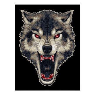Ferocious Wolf Print