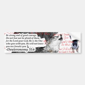 Ferocious Wolf with Puppy Bible Scripture Bumper Sticker