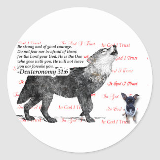 Ferocious Wolf with Puppy Bible Scripture Classic Round Sticker