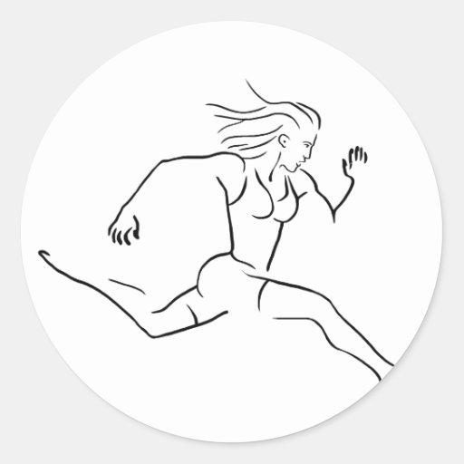 Feroz corrida mujer pegatina redonda