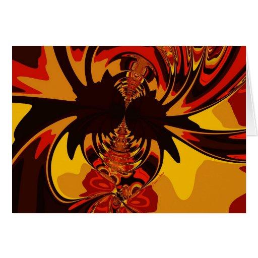 Feroz - criatura ambarina y anaranjada tarjeta de felicitación