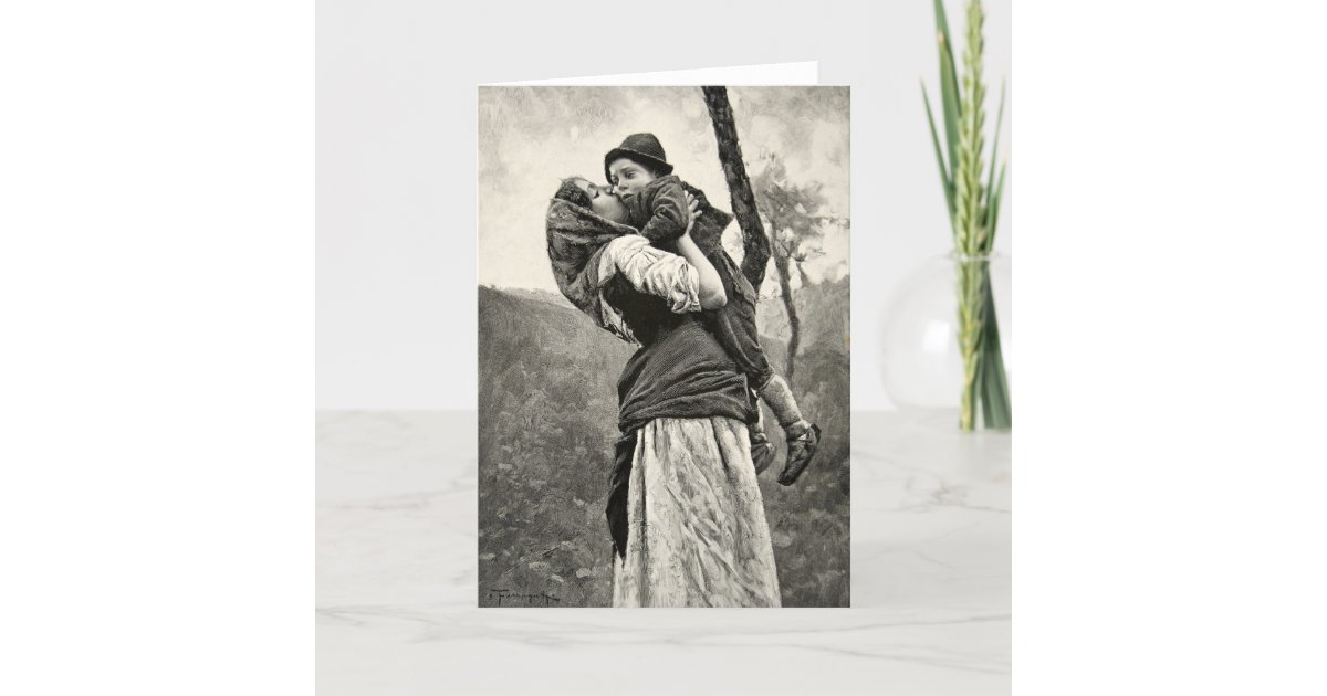 Ferraguti Love Mother Son Child Kiss Vintage Art Card Zazzle