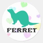 Ferret (5) round stickers