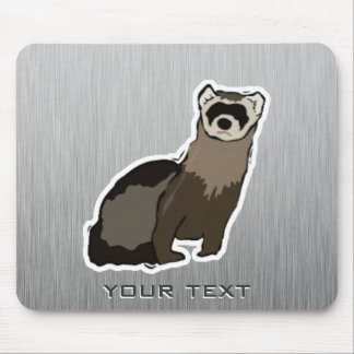 Ferret; Brushed metal look Mouse Pads