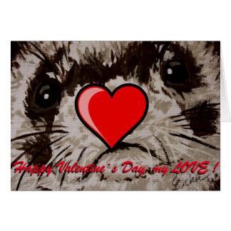 Ferret -Card - Valentine`s Day wish Card