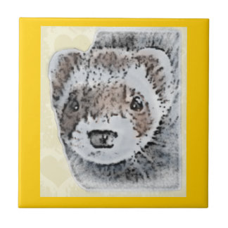 Ferret Cute Picture Ceramic Tile