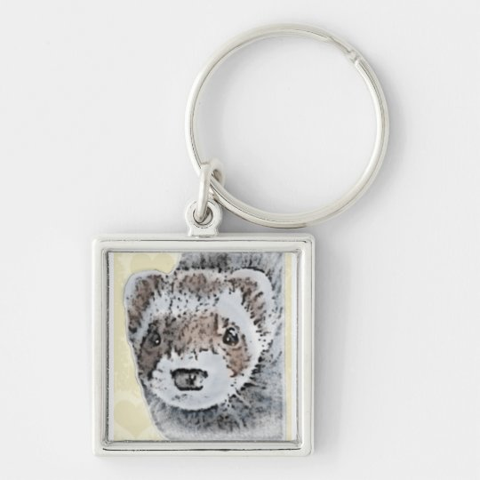 Ferret Cute Picture Keychain
