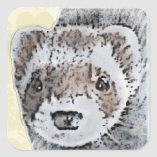 Ferret Cute Picture Square Sticker
