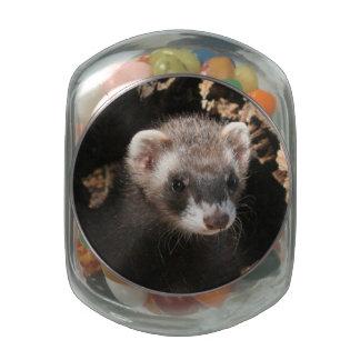 Ferret Face Glass Jar