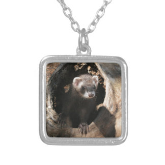 Ferret Face Silver Plated Necklace