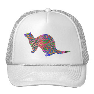 Ferret of the rainbow color trucker hat