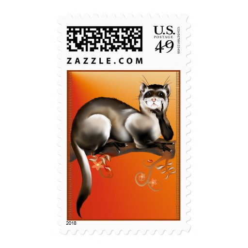 Ferret On A Branch Postage