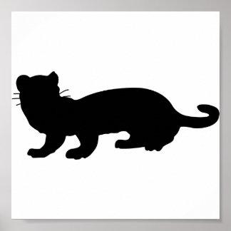 Ferret-outlined; black poster