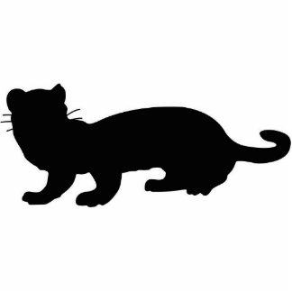 Ferret-outlined; black standing photo sculpture