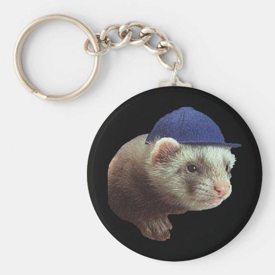 Ferret Wearing Hat Keychain
