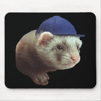 Ferret Wearing Hat Mouse Pad
