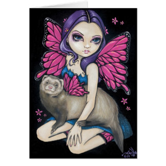"""""""Ferret with Butterfly Wings"""" Greeting Card"""