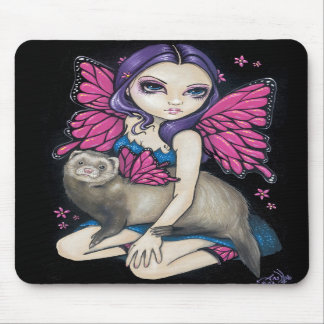 """Ferret with Butterfly Wings"" Mousepad"