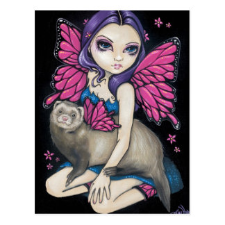 """""""Ferret with Butterfly Wings"""" Postcard"""
