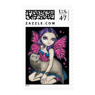 """Ferret with Butterfly Wings"" Stamp"