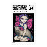 """""""Ferret with Butterfly Wings"""" Stamp"""