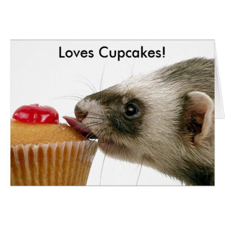 Ferrets Love Cupcakes Greeting Cards