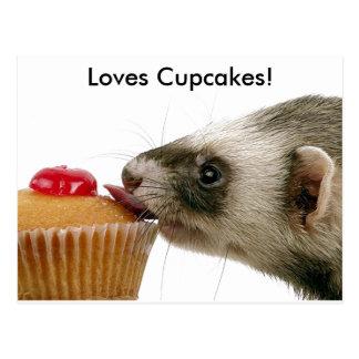 Ferrets Love Cupcakes Postcard