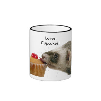 Ferrets Love Cupcakes Ringer Coffee Mug