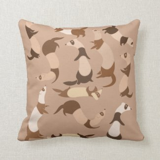 Ferrets pattern throw pillow