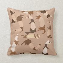 Ferrets pattern throw pillow